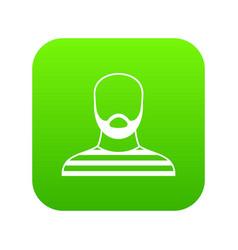 Bearded man in prison garb icon digital green vector