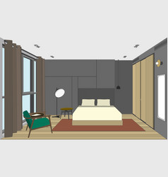 Bedroom perspective view vector