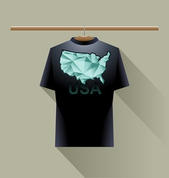 Black shirt with green usa logo vector image
