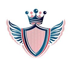 blank heraldic coat of arms decorative emblem vector image
