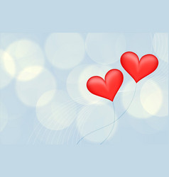Blurred background with two red balloon hearts vector