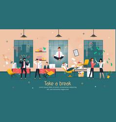 break in intensive office work flat banner vector image