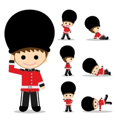 British Soldiers with seven pose vector