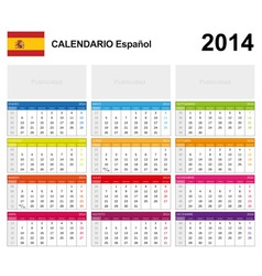 Calendar 2014 Spain Type 19 vector image