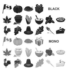canada thanksgiving day black icons in set vector image
