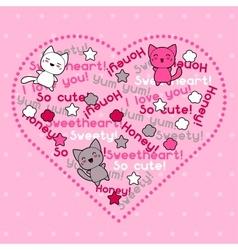 Card with cute kawaii doodle cats vector image
