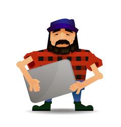 cartoon guy or nerd with vector image
