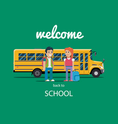 Children get on school bus flat vector