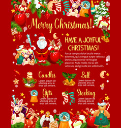 Christmas poster with new year gift and santa vector