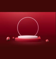 circle podium display with christmas ball element vector image