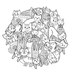 Circle shape print with funny cats coloring page vector