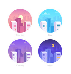City day - set flat design style vector