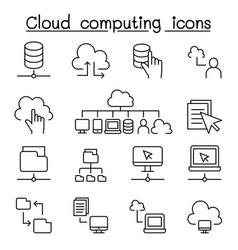 cloud computing icons set in thin line style vector image