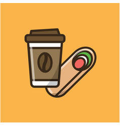 coffee drink cup and roll vector image