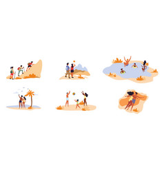 collection 6 different leisure activity scenes vector image