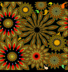 Colorful ethnic gipsy style floral paisley vector