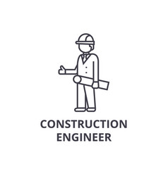 Construction engineer line icon sign vector