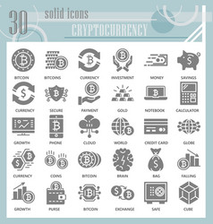 cryptoccurency glyph icon set bitcoin symbols vector image
