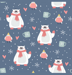 cute christmas purple pattern with bears vector image