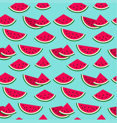 Cute colorful watermelon on blue summer seamless vector