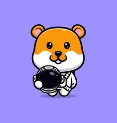 Cute hamster wearing astronaut suit cartoon vector
