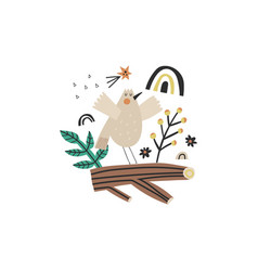 cute little bird character sitting on a branch vector image