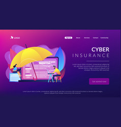 Cyber insurance concept landing page vector
