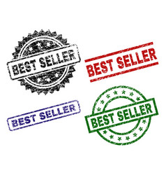 damaged textured best seller seal stamps vector image
