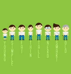 different character cartoon man vector image