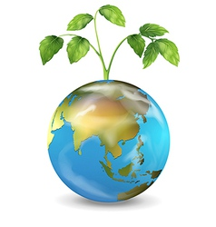Earth with a growing plant vector