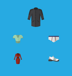 Flat icon garment set of uniform clothes casual vector