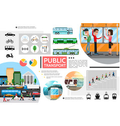 flat public transport elements composition vector image