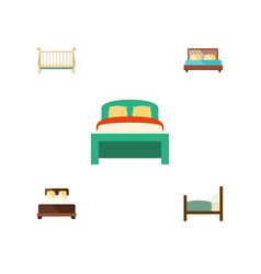 Flat set of hostel mattress bed and other vector