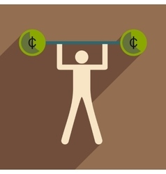 Flat with shadow icon man and the bar coins vector image