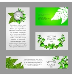 Four cards with texture of green fern vector