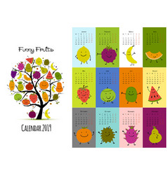 funny fruits calendar 2019 design vector image