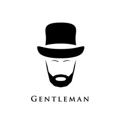 Gentleman with beard and in hat vector