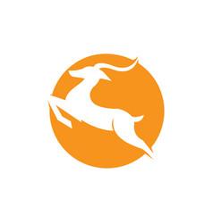 ghazel jump logo design in a sun background deer vector image