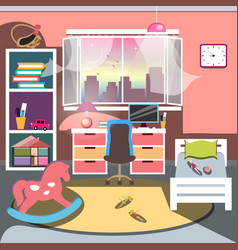 Girls all pink bedroom interior vector