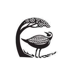 Golden Plover Standing Tree Tribal Art vector