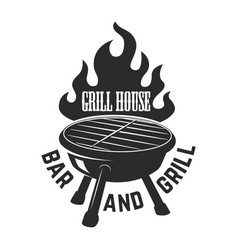 grill house bbq with fire design element for logo vector image