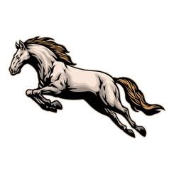 Hand drawn running mustang horse vector