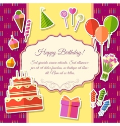 Happy birthday festive elements on pink background vector
