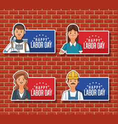 Happy labor day emblems vector