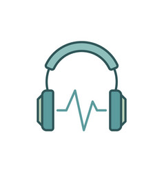headphone with sound wave colored icon or vector image