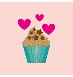 Heart cartoon cupcake chip star chocolate icon vector