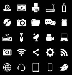 Hi tech icons on black background vector image