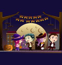 Kids wearing halloween costumes vector