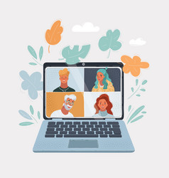 laptop computer with group vector image