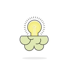 Light bulb brain icon isolated on white idea vector image